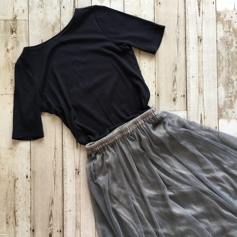ユニクロ リブボートネックT コーデ サイズ ブログ GU イージーチュールスカート