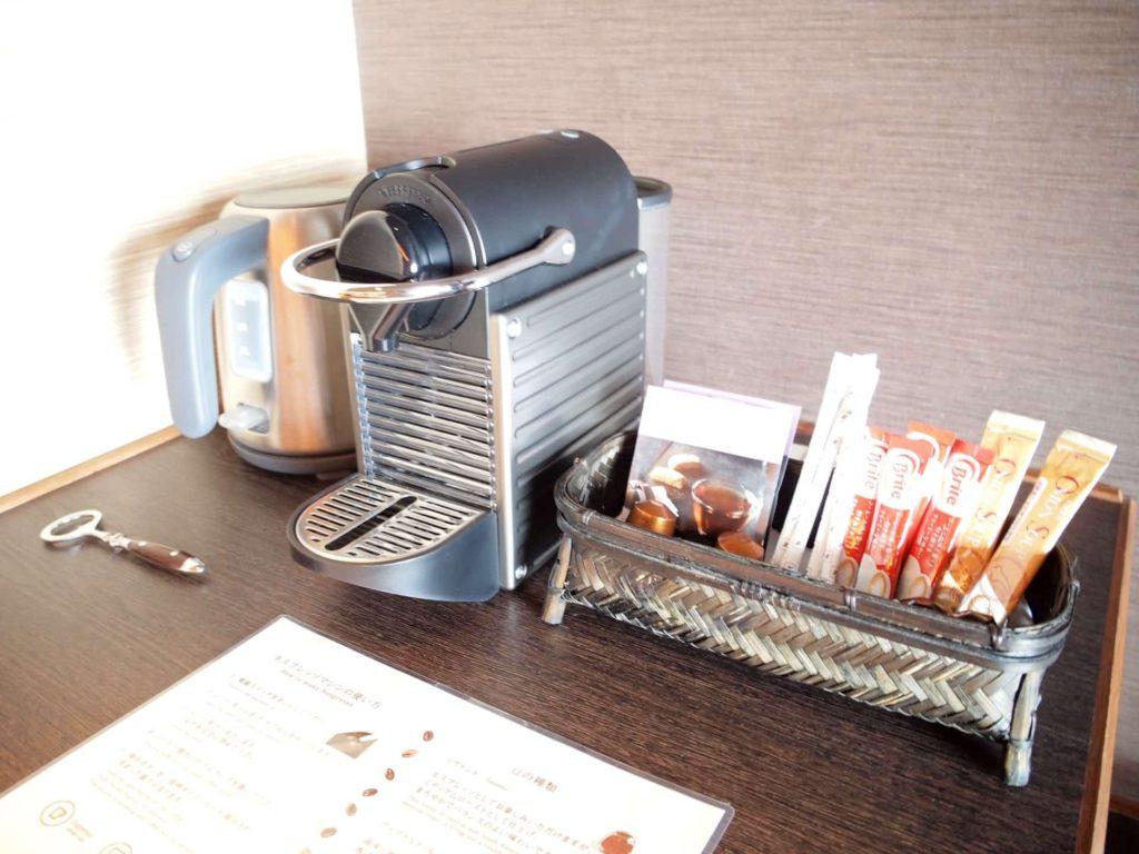 ホテルニューアワジ ヴィラ楽園 宙の庭 旅行記 宿泊レポ 部屋 ブログ アメニティ 備品 ネスプレッソ コーヒー