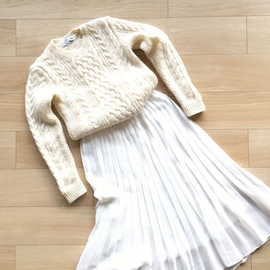 ユニクロ Uniqlo ハイウエストシフォンプリーツスカート コーデ 2018年 冬 春 コーデ